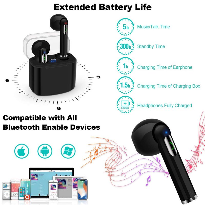 Wireless Earbuds Bluetooth Earbuds Wireless Earphones Stereo Wireless Earbuds With Microphone Charging Case Bluetooth In Ear Earphones Sports Earpieces Compatible Ios Samsung Android Phones Black Ubimarket