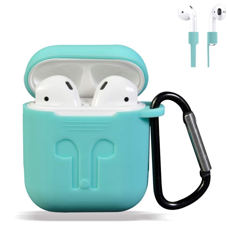 AirPods Case Cover, Silicone Protective Case and Skin for Airpods Charging Case with Airpods Anti-Lost Strap/Airpods Hooks, [Buy 1 Get 5 Accessories] (Mint Green)