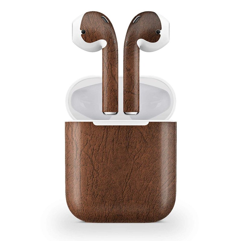 Decal Kid Skin for Apple AirPod Air Pod - Brown Leather | Protective, Durable, Unique Vinyl Decal wrap Cover | Easy to Apply, Remove, and Change Styles and Change Styles