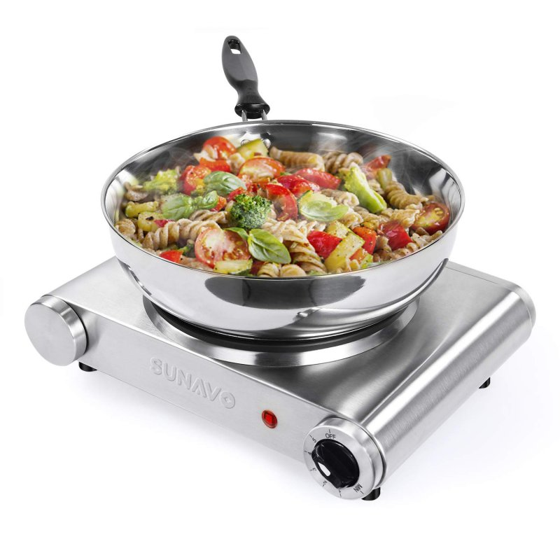 SUNAVO Hot Plate for Cooking Portable Electric Single Burner 1500W 5 Power Levels Cast-Iron Silver